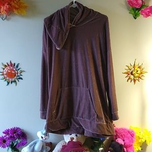 Tops - Shiny velour rose-beige hoodie